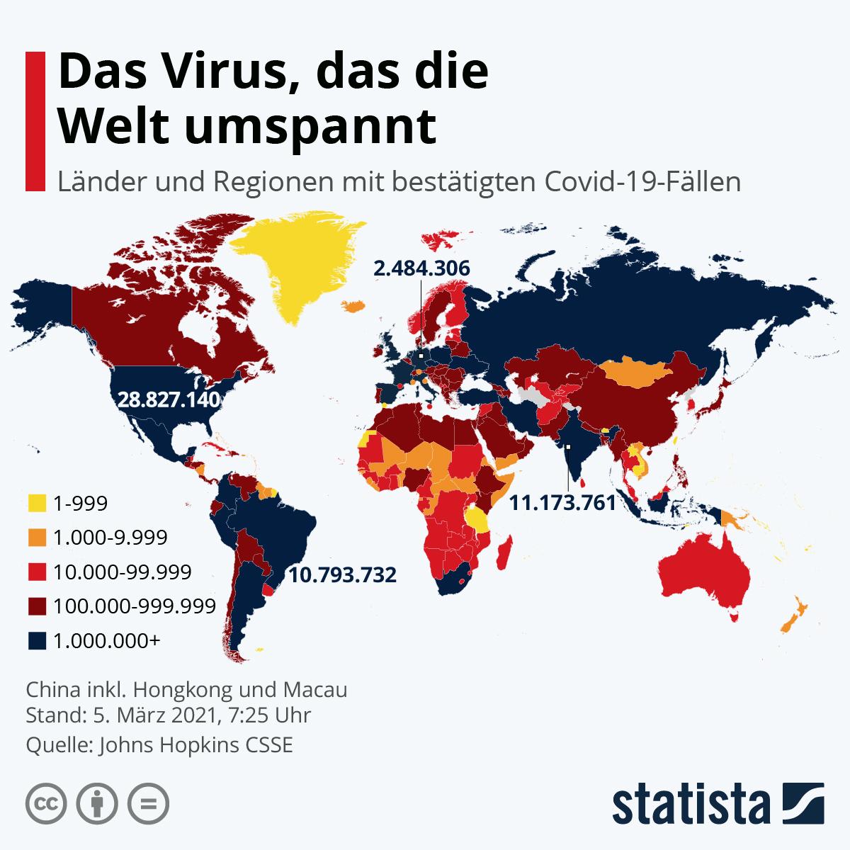 Coronavirus Verbreitungsgebiet
