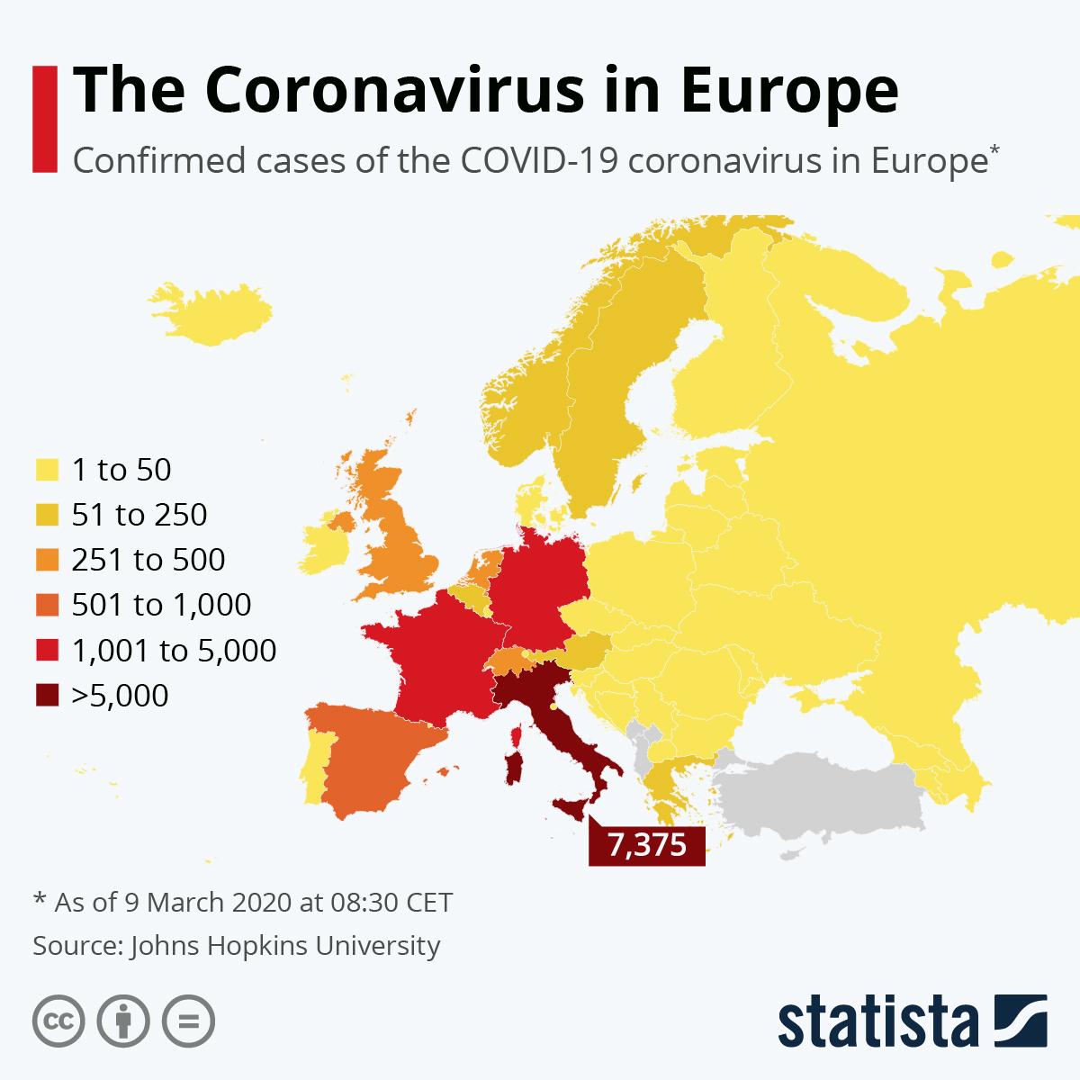 Chart The Coronavirus In Europe Statista