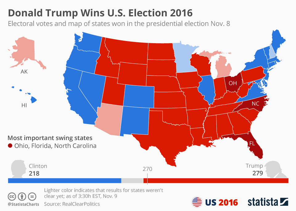 united states 2016 presidential election results map Chart: Preliminary Results of the United States Presidential