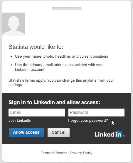 Getting Started - Social Network Login | Statista