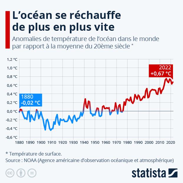 evolution de la temperature moyenne des oceans