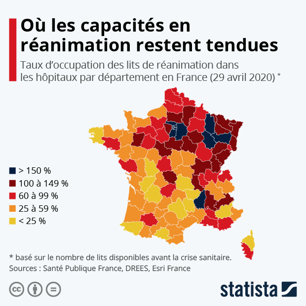 capacite de reanimation en france par departement selon taux occupation lits reanimation