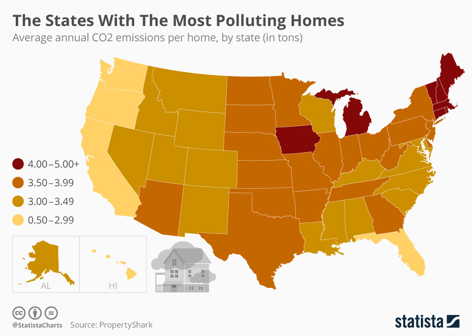 Infographic: The U.S. States With The Most Polluting Homes | Statista