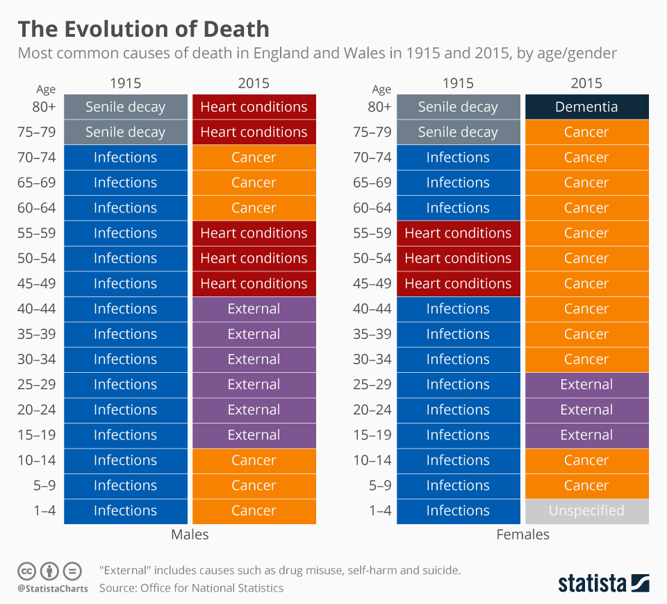 Infographic: The Evolution of Death   Statista
