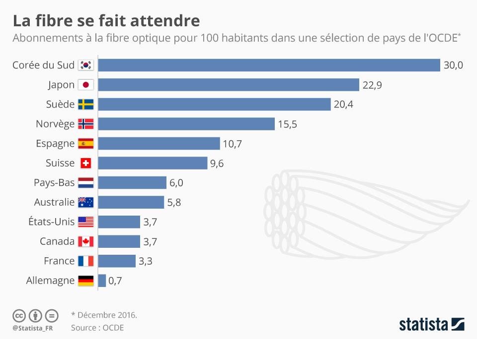 Infographie: La fibre se fait attendre | Statista