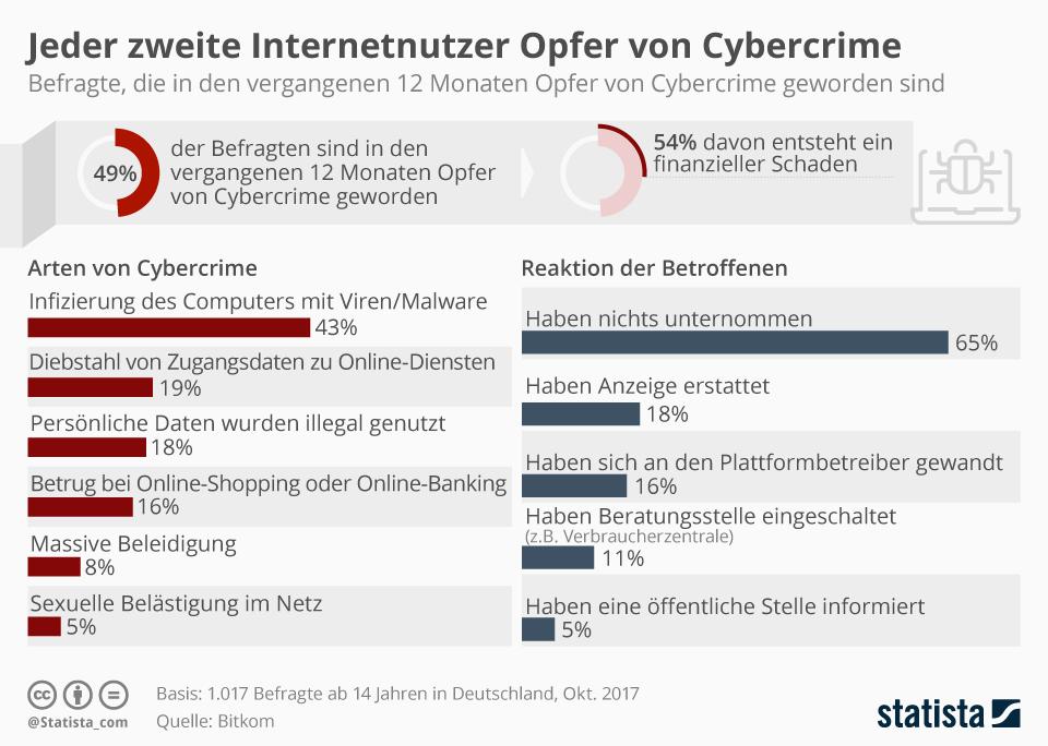 Infografik: Jeder zweite Internetnutzer Opfer von Cybercrime | Statista