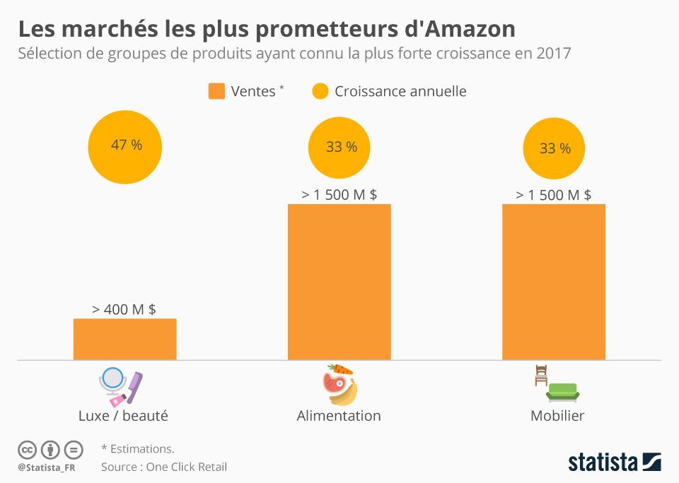 Infographie: Les marchés les plus prometteurs d'Amazon | Statista