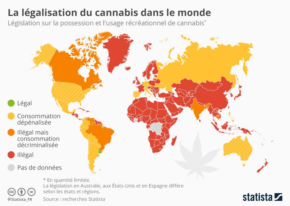 Infographie: La légalisation du cannabis dans le monde | Statista
