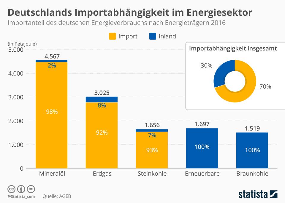 Infografik: Deutschlands Importabhängigkeit im Energiesektor   Statista