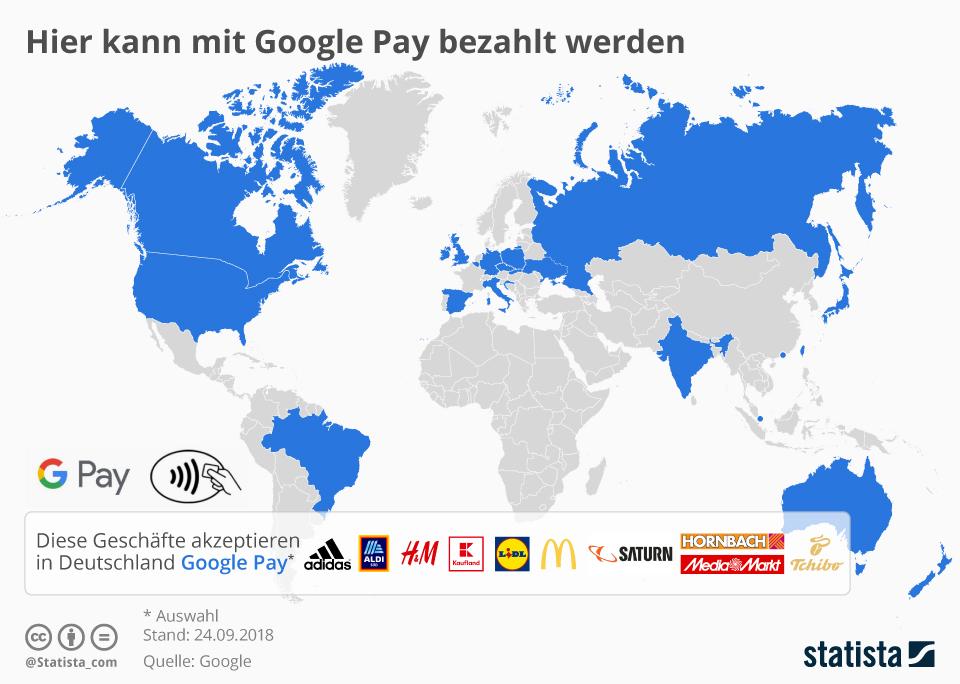 Infografik: Hier kann mit Google Pay bezahlt werden   Statista