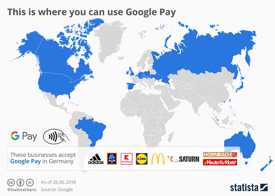 Infographic: This is where you can use Google Pay    Statista
