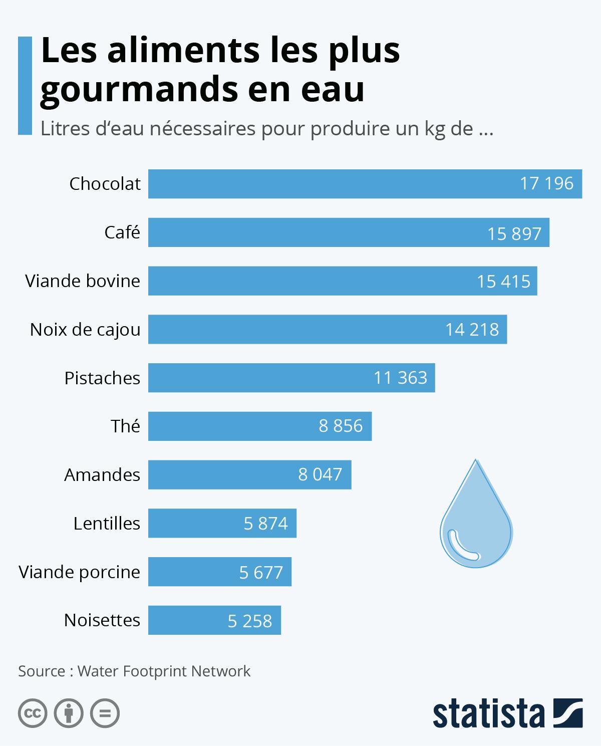 Infographie: Les aliments les plus gourmands en eau | Statista
