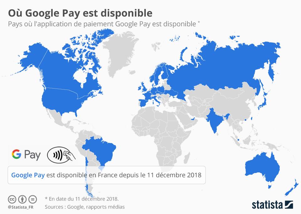Infographie: Où Google Pay est disponible | Statista