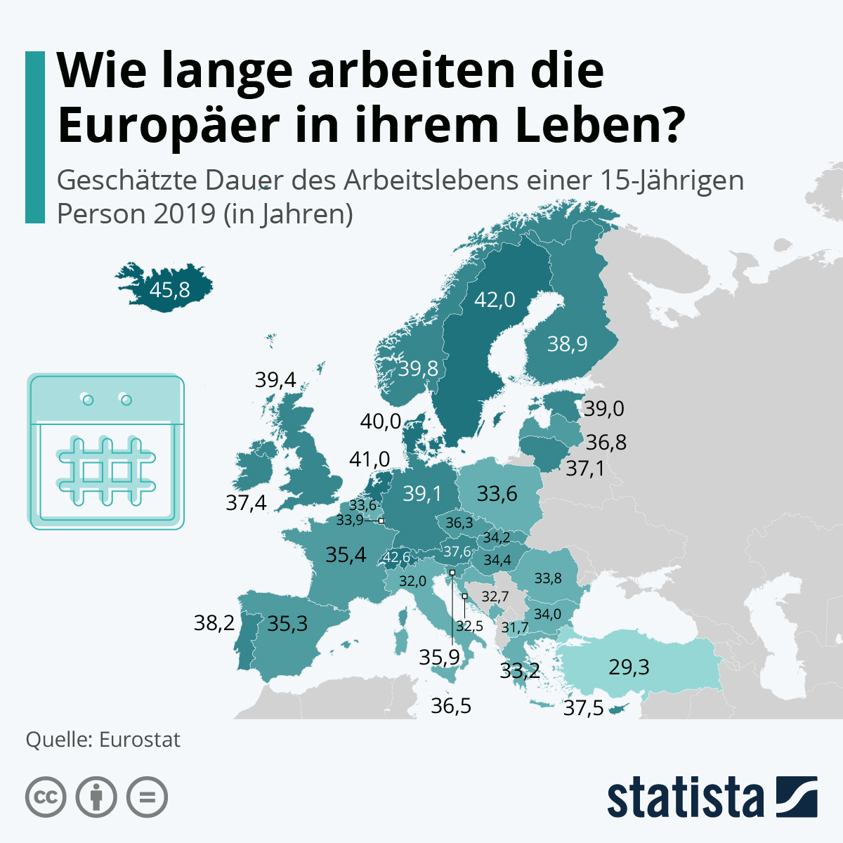 Infografik: Wie lange arbeiten die Europäer in ihrem Leben?   Statista