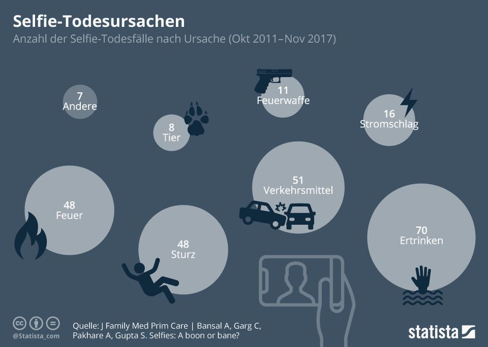 Infografik: Selfie-Todesursachen   Statista