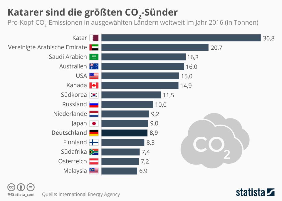 Infografik: Katarer sind die größten CO2-Sünder | Statista