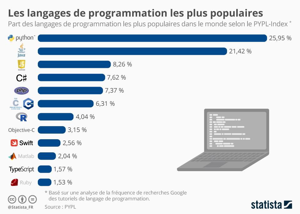 Infographie: Les langages de programmation les plus populaires   Statista