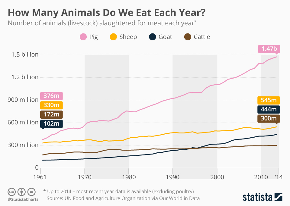 Infographic: How Many Animals Do We Eat Each Year? | Statista