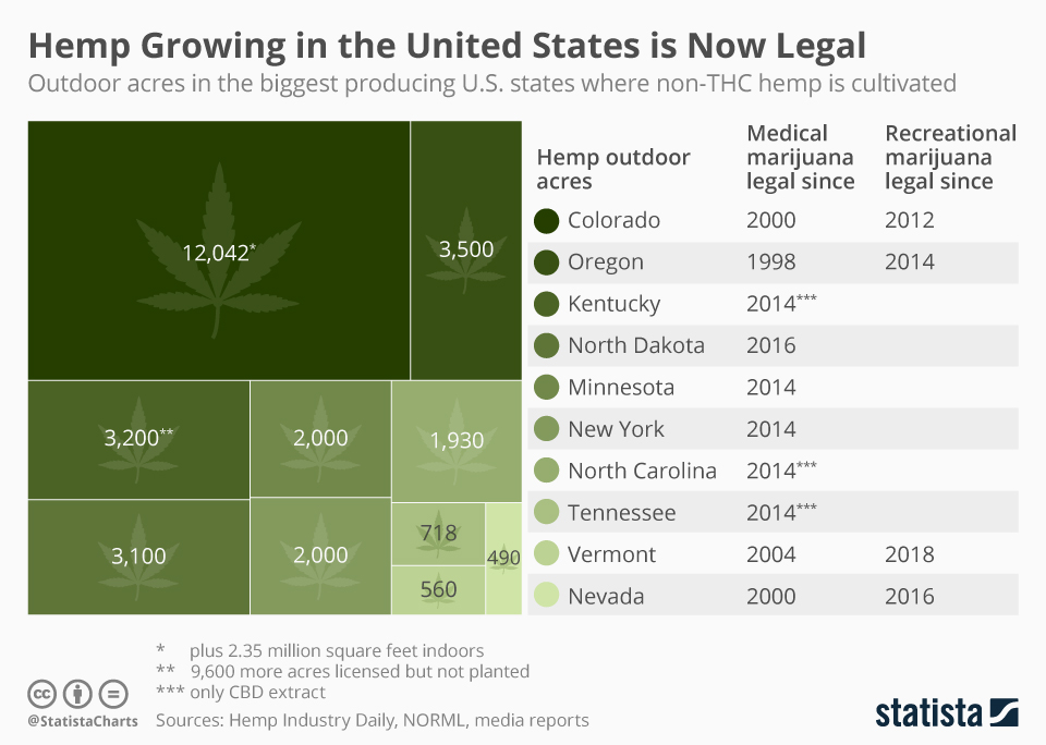 Infographic: Newly Legal Hemp Growing Industry Expected to Flourish in the U.S.   Statista