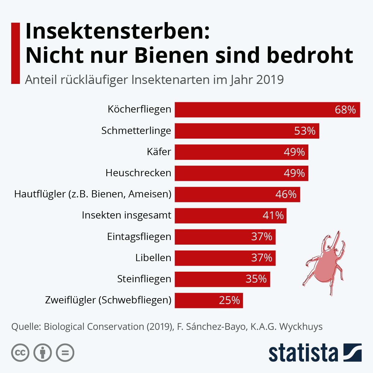 Infografik: Insektensterben: Nicht nur Bienen sind bedroht | Statista