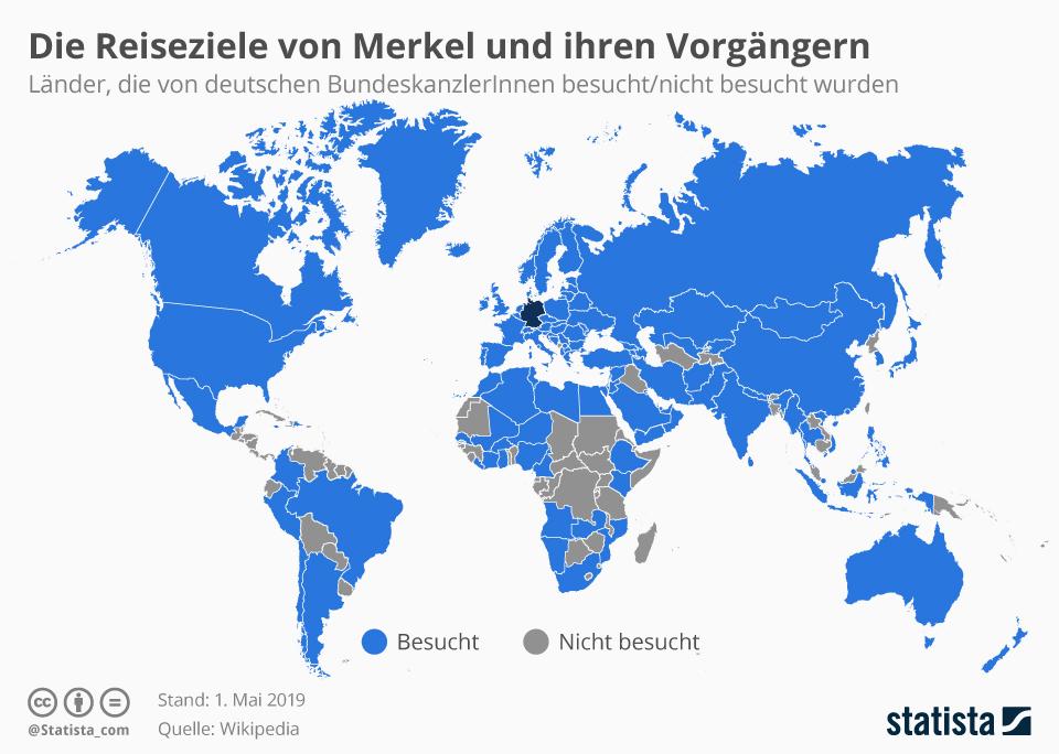 Infografik: Die Reiseziele von Merkel und ihren Vorgängern | Statista