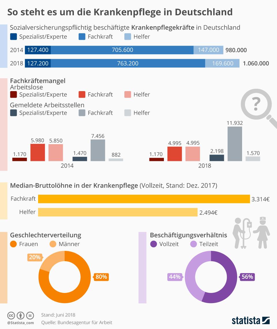 Infografik: So steht es um die Krankenpflege in Deutschland | Statista
