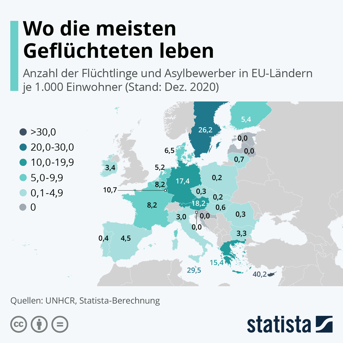 Infografik: Wo die meisten Geflüchteten leben | Statista