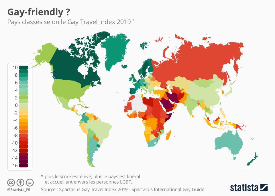 Infographie: Les pays les plus (et les moins) accueillants pour les voyageurs LGBT | Statista
