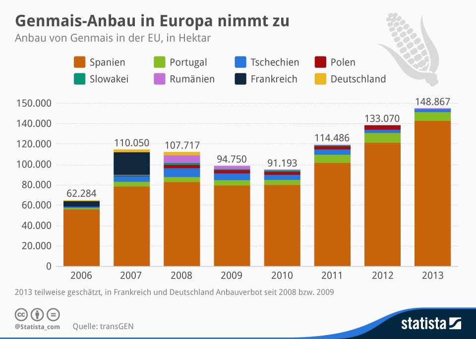 Infografik: Genmais-Anbau in Europa nimmt zu | Statista