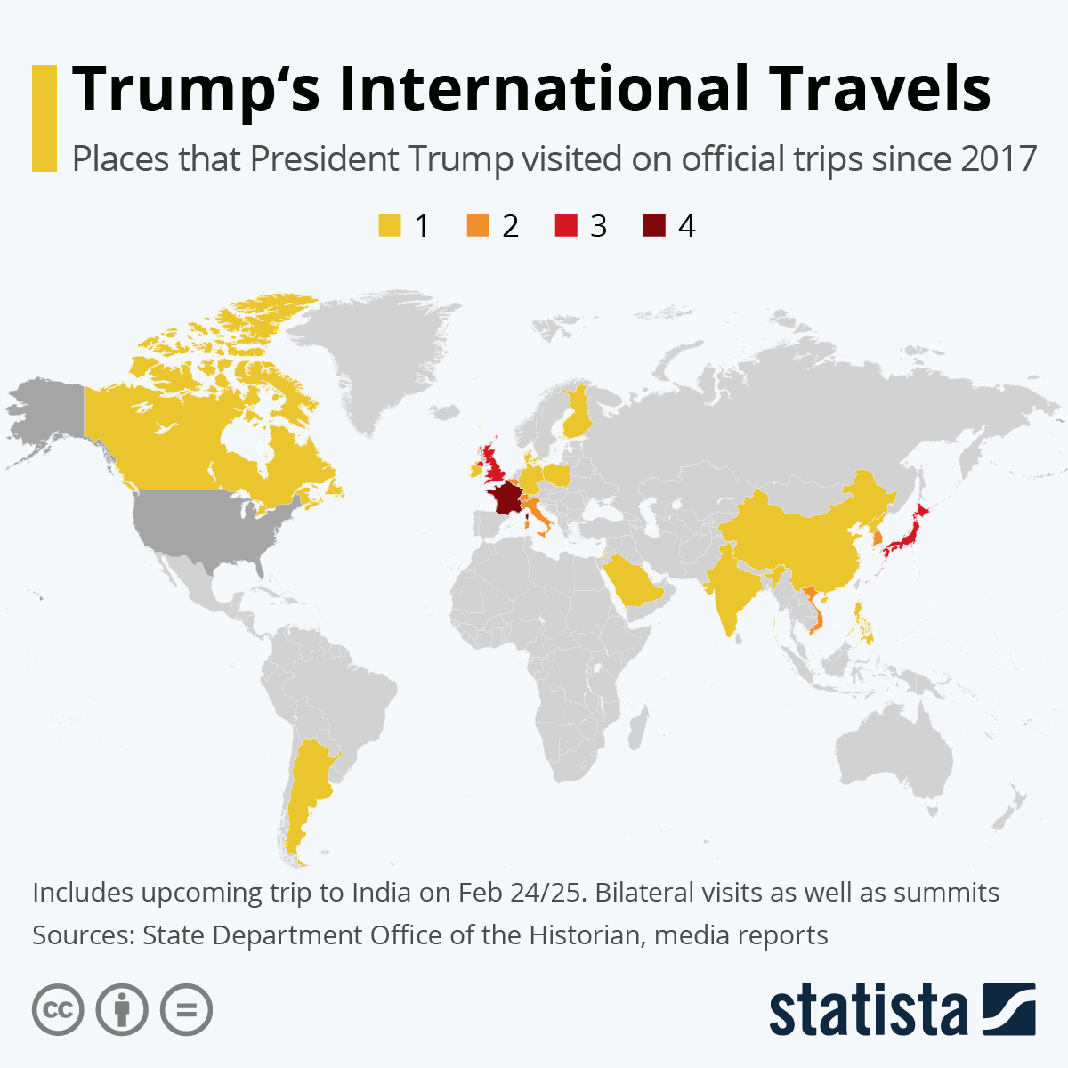Infographic: Trump's International Travels Mapped | Statista