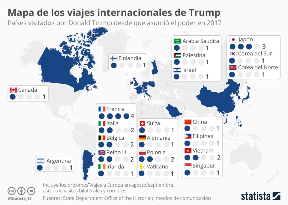 Infografía: Mapa de los viajes internacionales de Donald Trump | Statista