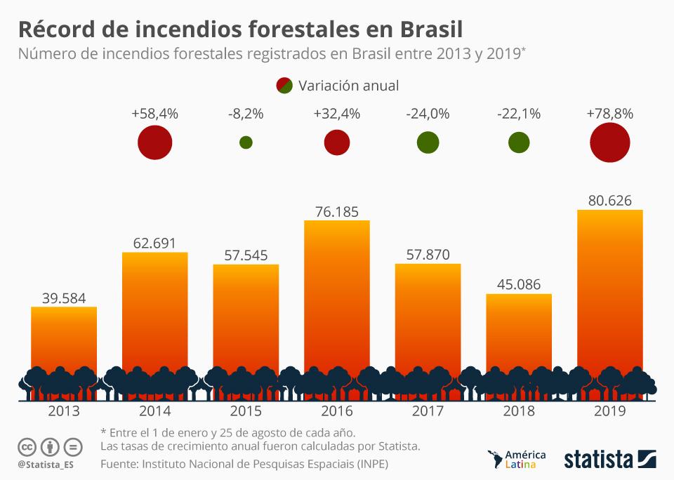 Infografía: Se registran casi el doble de incendios en Brasil que en 2018 | Statista