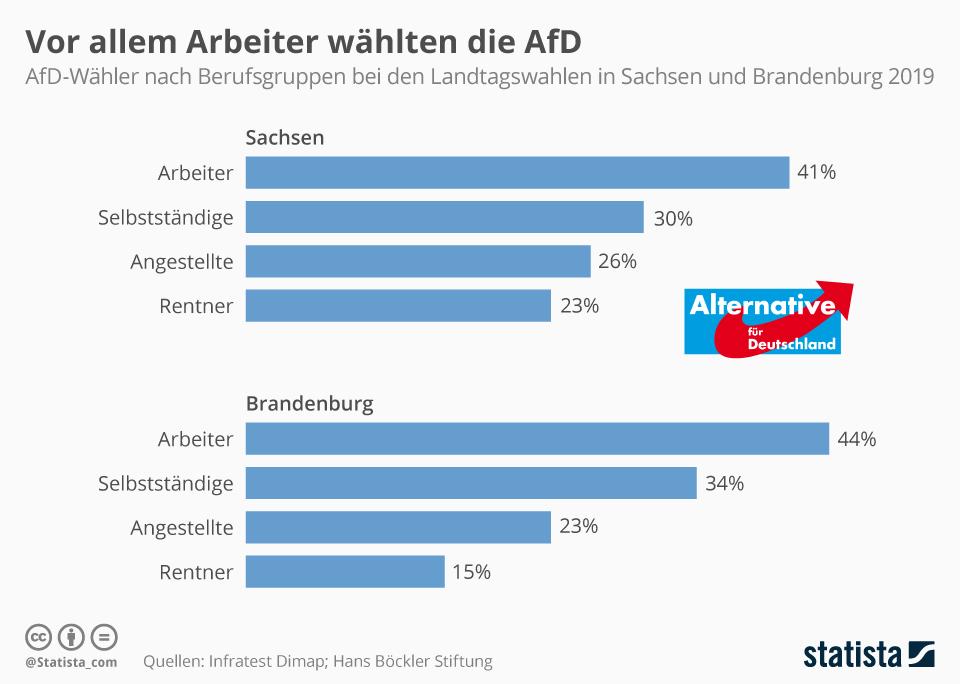 Infografik: Vor allem Arbeiter wählten die AfD | Statista