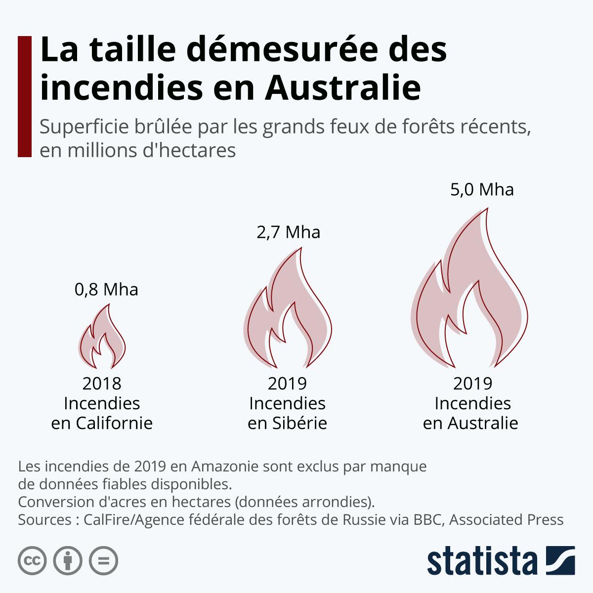 Infographie: L'ampleur démesurée des feux de forêts en Australie | Statista