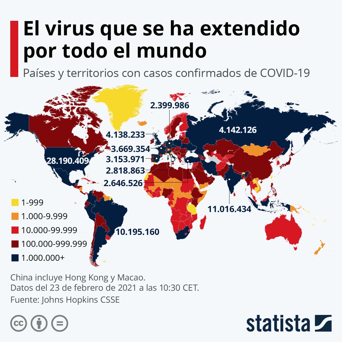 Infografía: ¿A dónde se ha extendido el coronavirus? | Statista