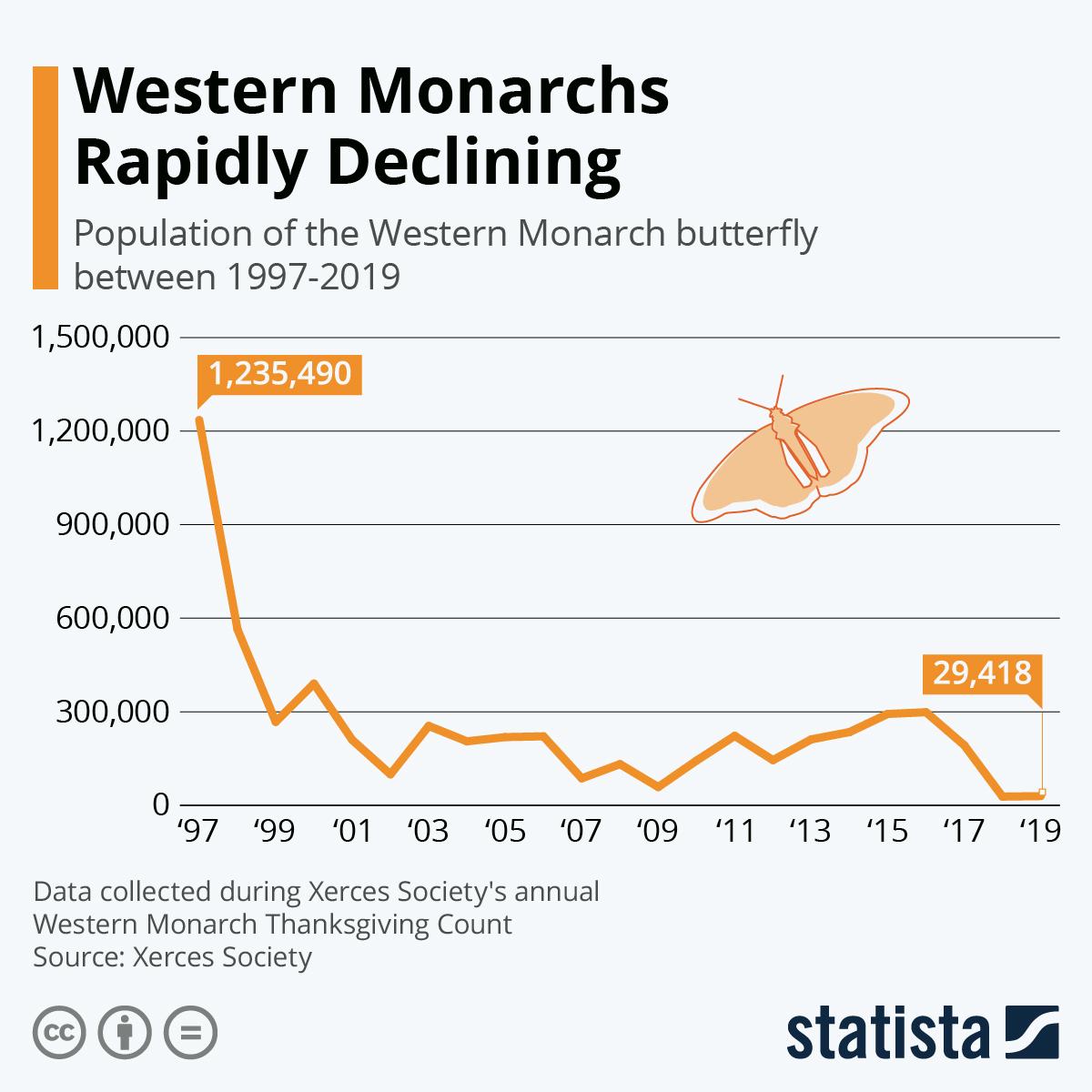 Infographic: Western Monarchs Rapidly Declining   Statista