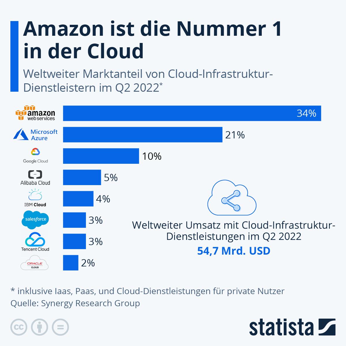 Infografik: Amazon ist die Nummer 1 in der Cloud | Statista