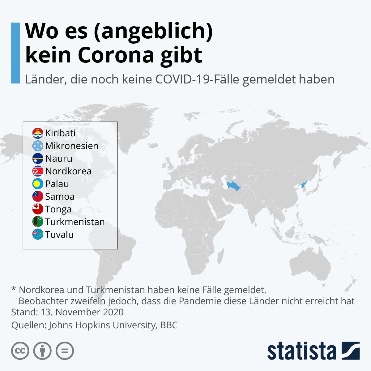 Infografik: Wo es (angeblich) kein Corona gibt | Statista