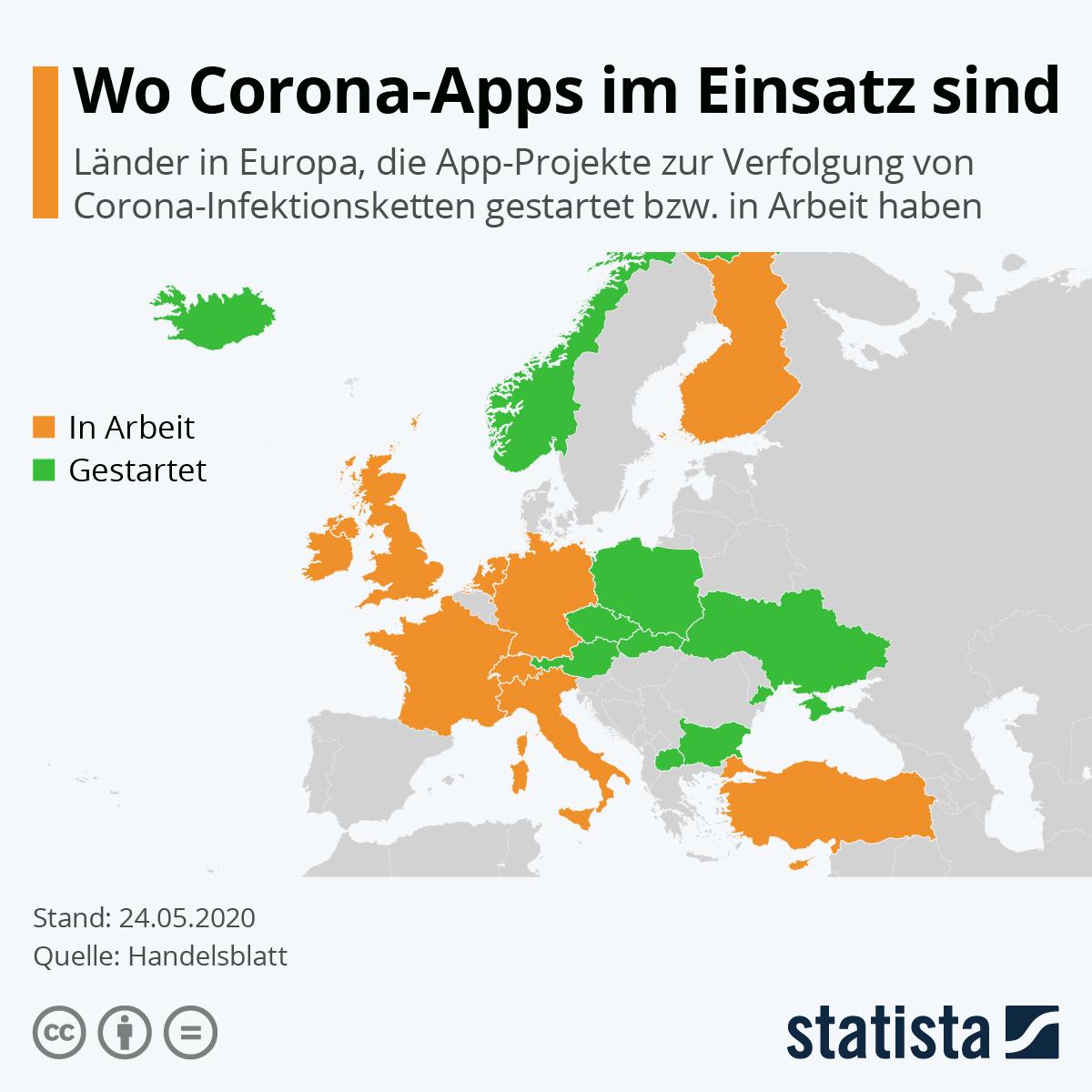 Infografik: Wo Corona-Apps im Einsatz sind | Statista