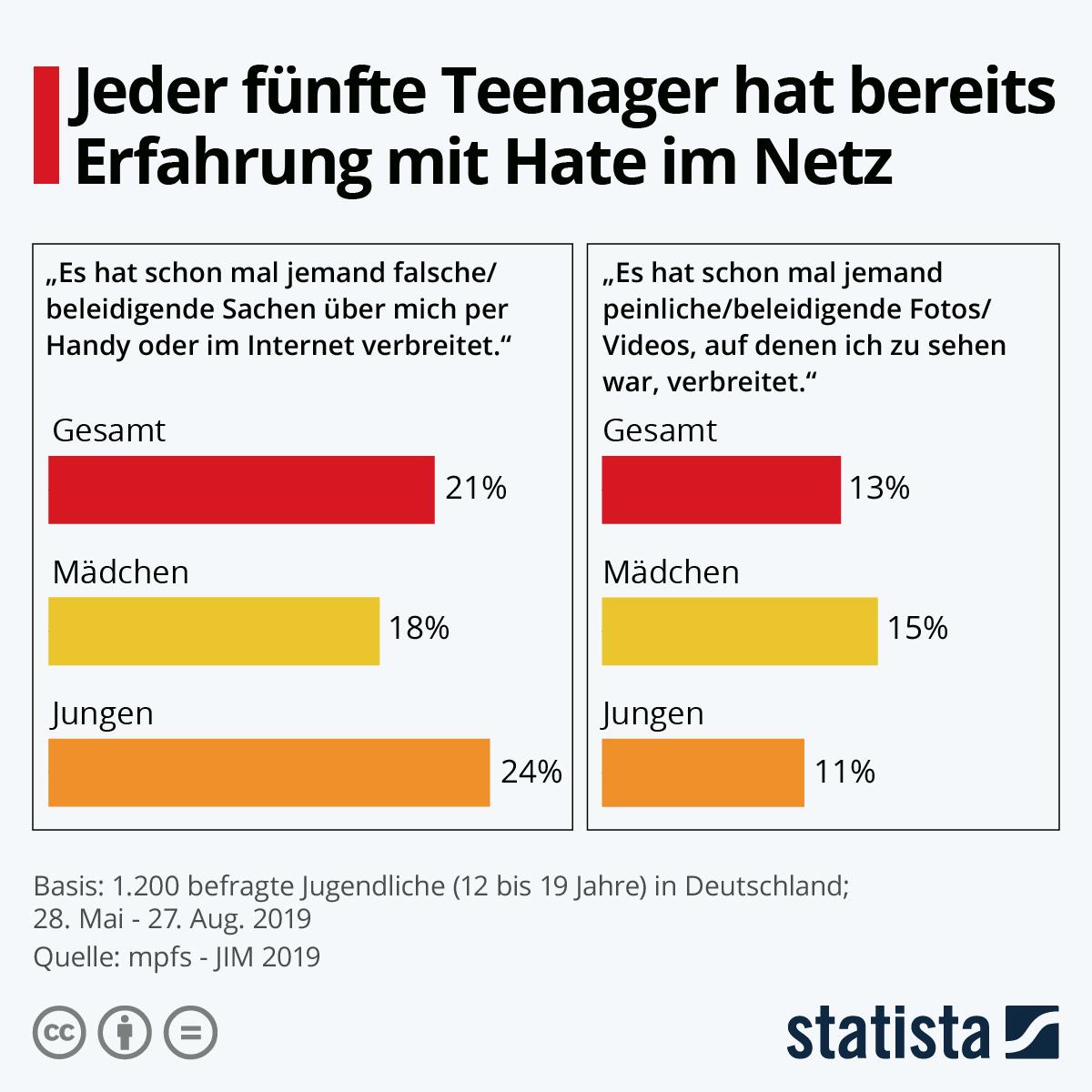 Infografik: Jeder 5. Teenager hat bereits Erfahrung mit Hate im Netz | Statista