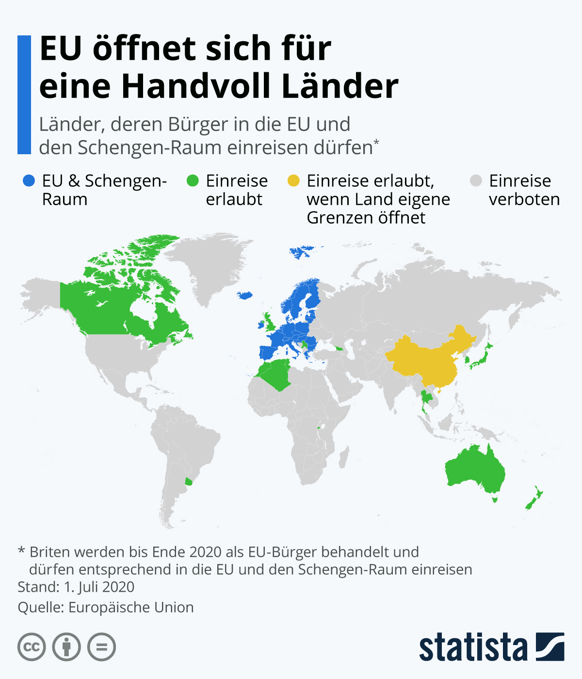 Infografik: EU öffnet sich für eine Handvoll Länder | Statista