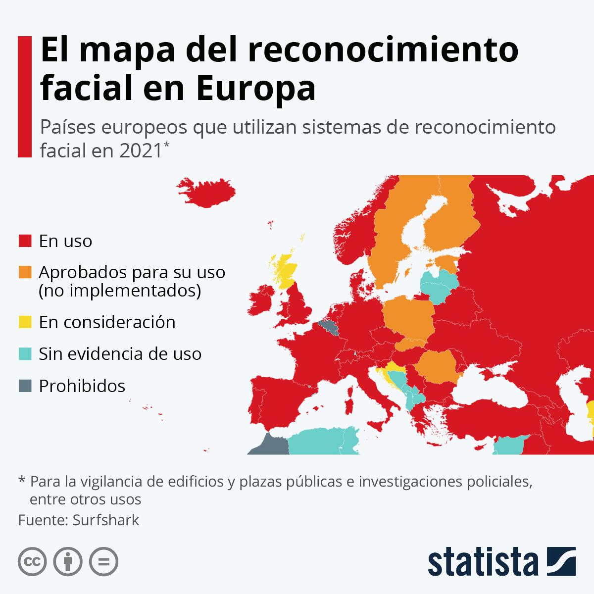Infografía: El mapa del reconocimiento facial en Europa | Statista