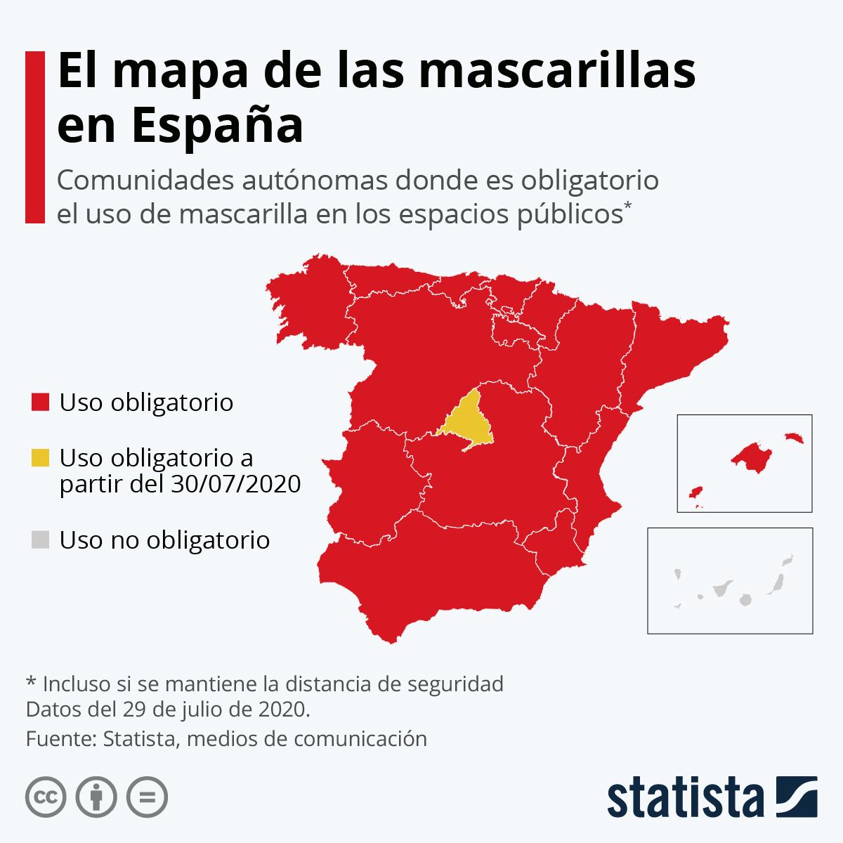 Infografía: Canarias, la única comunidad donde el uso de mascarilla no es obligatorio | Statista