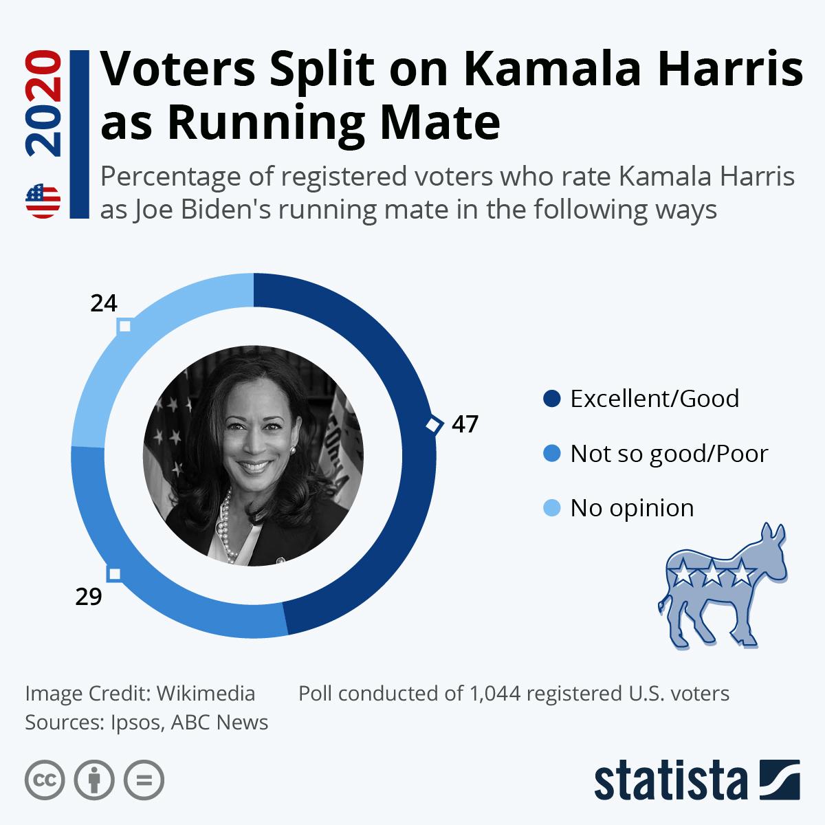 Infographic: Voters Split on Kamala Harris as Running Mate | Statista