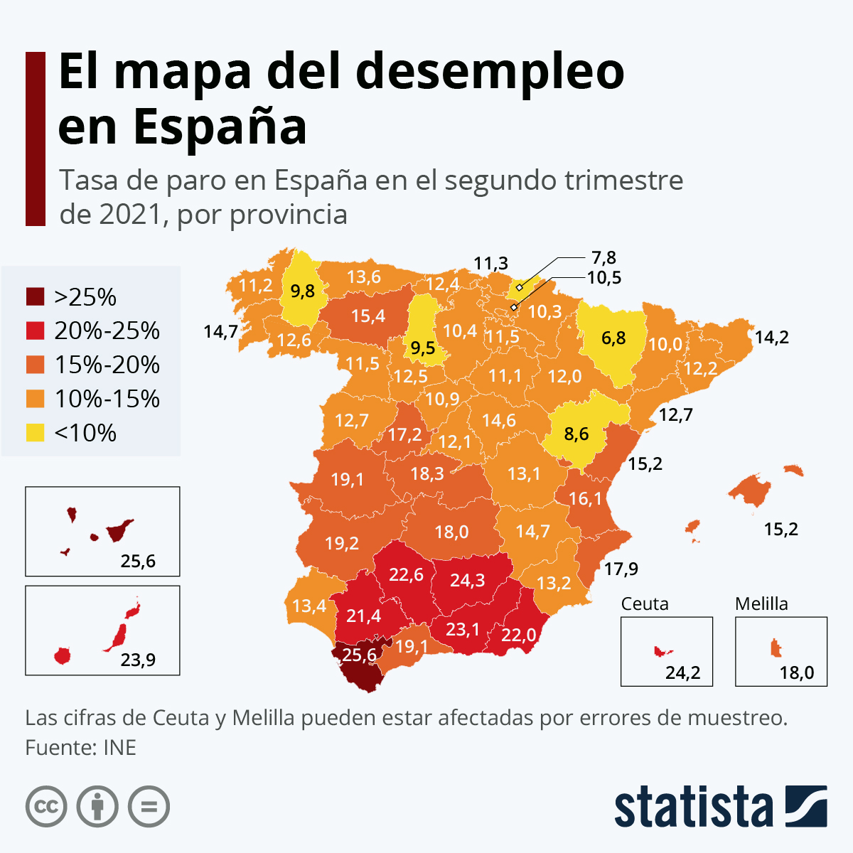 Infografía: ¿Cuáles son las provincias españolas más y menos afectadas por el paro? | Statista