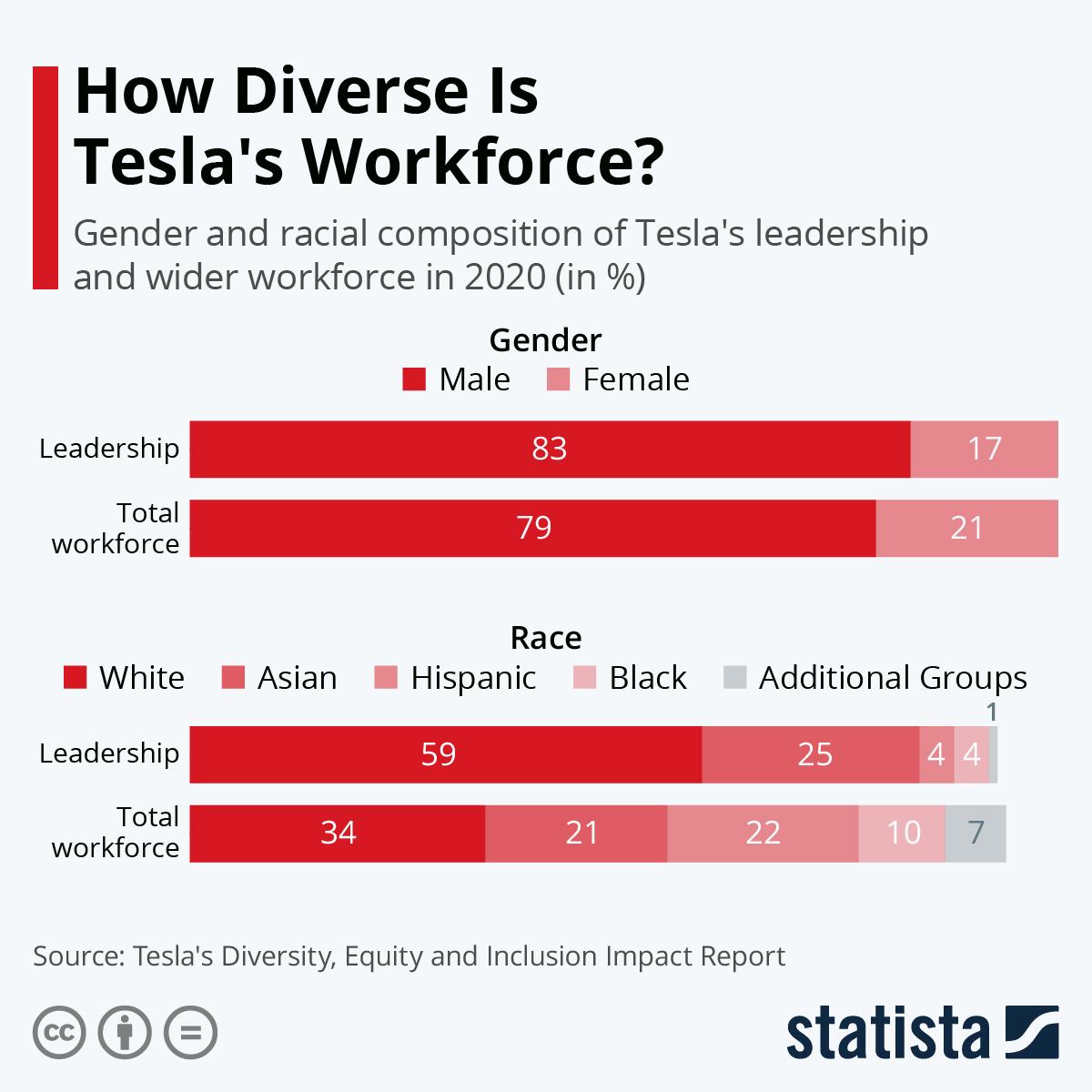 Infographic: How Diverse Is Tesla's Workforce? | Statista