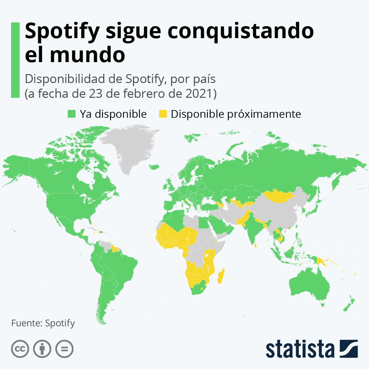 Infografía: La expansión global de Spotify | Statista