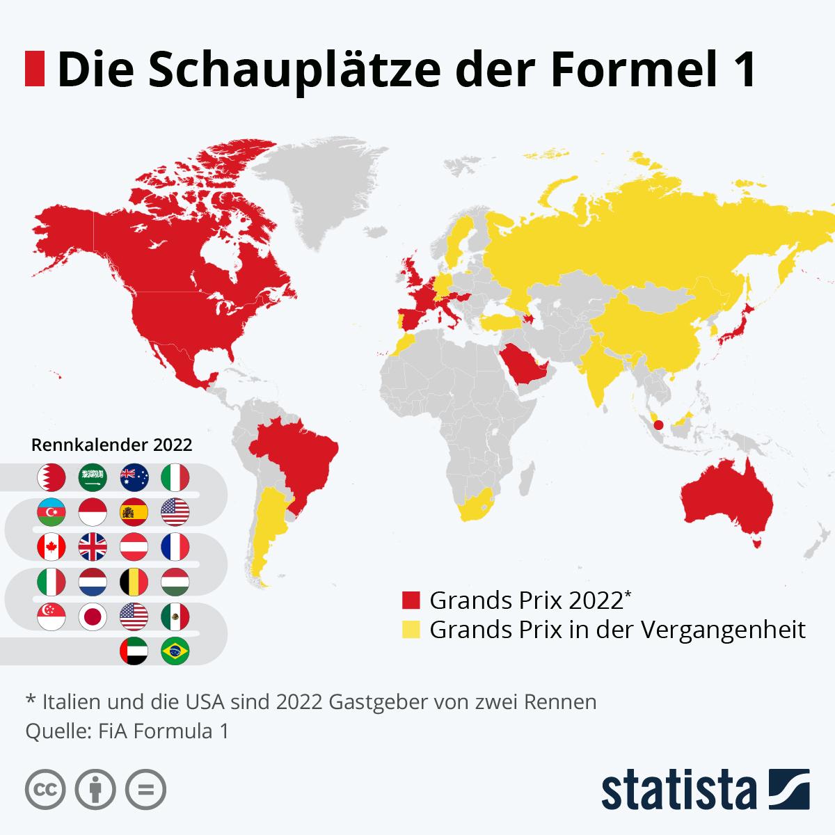 Infografik: Die Schauplätze der Formel 1 | Statista