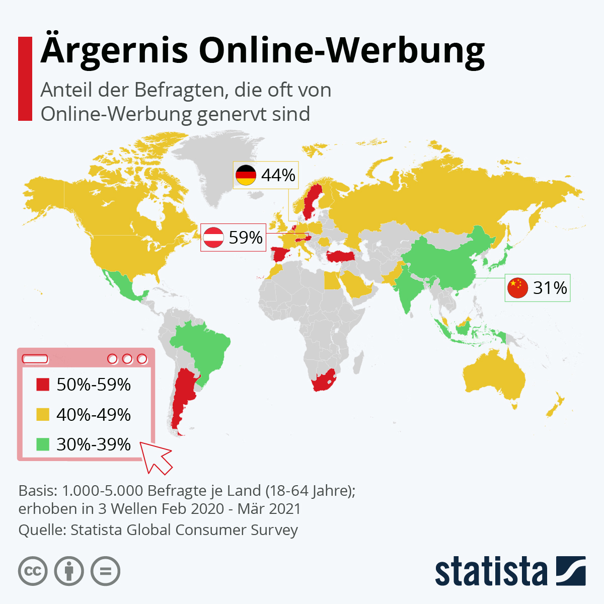 Infografik: Ärgernis Online-Werbung | Statista