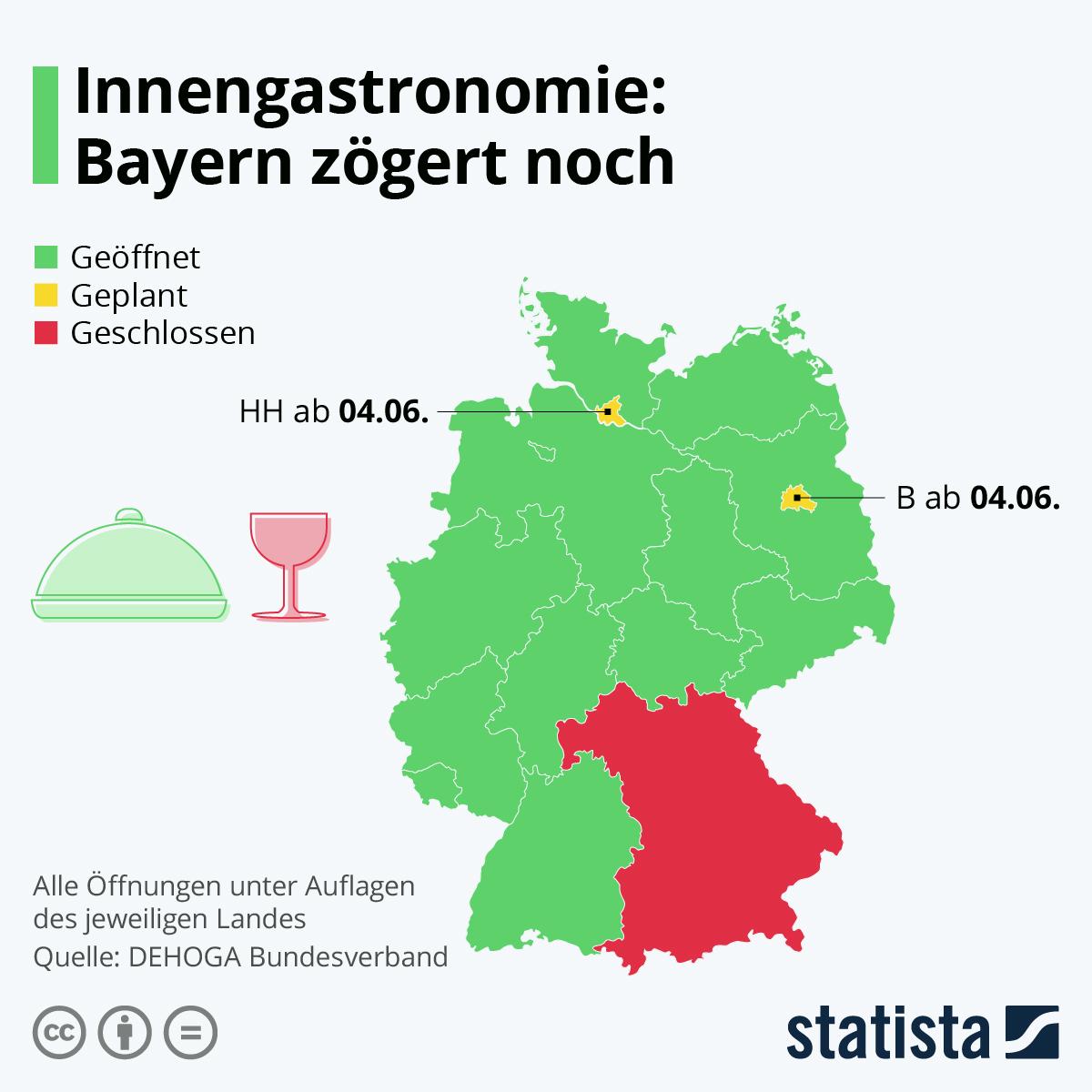 Infografik: In diesen Bundesländern ist die Innengastronomie bereits geöffnet | Statista